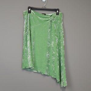 Bebe green velour angled hem knot detail skirt